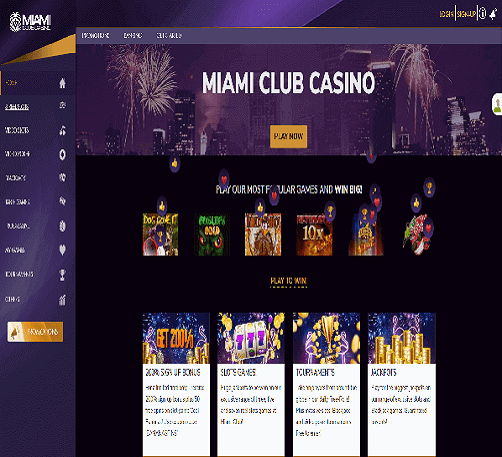 image of miami club casino homepage